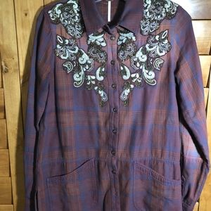 Free People Tops - Free People Embellished Western Shirt Small